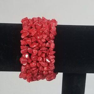 Coral red natural gemstones bracelet